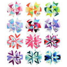 12pcs/Lot Girls Toddler Hair Ribbon Big Bows Alligator Hair Clips Bow Hairpins