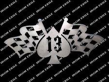 Spade With Flags Lucky 13 Hot Rod Rockabilly Rat Rod Art Metal Sign Cut Out USA