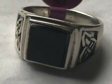 70% Off Closeout Mens Natural Black Onyx Celtic Engraved Ring Size 10