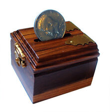 New Wooden Ching Ling Coin Box Half Dollar sized Coin + Kenndy Half Dollar