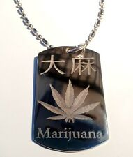 Military Dog Tag Metal Chain Necklace Kanji Japanese Character Weed Marijuana