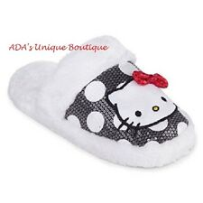 Hello Kitty Sequin Polka Dot Plush Slippers Non Skid S 5/6  Hard Sole Sanrio