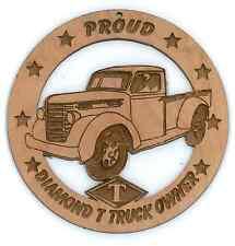 Diamond T Pickup Truck Wood Ornament Engraved