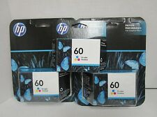 (3) HP 60 TRI-COLOR CC643WN INK CARTRIDGES - SEALED - EXP: 1/17  LR 6381