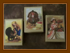 VINTAGE DESIGNED THANKSGIVING POSTCARD GIFT BOXES - SET OF THREE