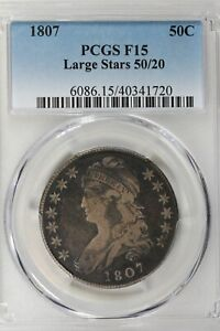 1807  50C PCGS F15 LARGE STARS 50/20 Capped Bust Half Dollar,  Miss Liberty Head