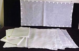 4 Vintage Madeira Hand Made Linen Placemats Set w Greek Key Drawn Work WW583