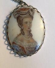 "Vintage Jewelry Necklace Pendant Woman Flowers  NOS 1.75"" *7"