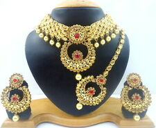 RED LCT KUNDAN CZ GOLD TONE INDIAN BOLLYWOOD BRIDAL CHOKER NECKLACE SET JEWELRY