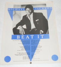 Vintage MICHAEL JACKSON 'BEAT IT '  Smash Hits Songwords Poster 1983!