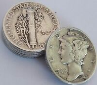 Mercury Dimes 90% Silver (Lot of 5)