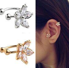 Damen Ohrklemme Ohrbügel Ohrring Helix Blüten Blüte Blume Strass Gold Filigran