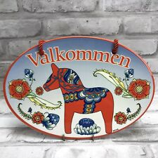 Welcome Red Dala Horse Dalahäst Oval Plaque DoorSign Wall Hanging Sweden Sverige