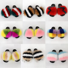 Fur Slippers Slides Open Toe Real Fox Fur Slippers Fluffy House Slides Outdoor