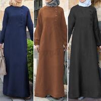 ZANZEA UK Womens Puff Sleeve Casual Loose Kaftan Abaya Muslim Caftan Maxi Dress