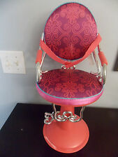"Battat Our Generation 18"" Doll Beauty Salon Hair Styling Dark Pink Chair GUC"