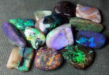 11 cts - Beautiful Rough Australian Andamooka Black Opal - 13 pieces Multicolor