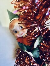 """Mid Century Christmas Red Tinsel Garland with 3 Pixies 17"""" Tree/ Wall Hanging"""