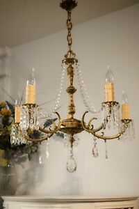 💖Beautiful Vintage French Large 5 light Gilt Brass,Spelter & Crystal Chandelier