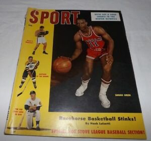 February 1956 SPORT Magazine - Basketball Sihugo Green Cover with Mickey Mantle