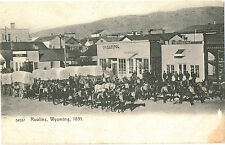RAWLINS WY 1891 STREET SCENE COVERED WAGONS STORES/SIGNS c1905