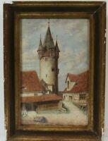 Ansicht des Diebsturmes in Lindau sehr feines Aquarell gerahmt Beschriftung