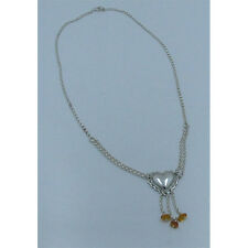 PETITE .925 Sterling Silver Natural Golden Amber Heart Chain Necklace