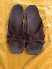 Teva Womens Brown Leather Flip Flops Thong Slide Sandals Brown strap 9.5 Shoes