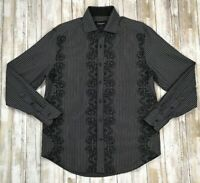 J Campbell Shirt Mens Sz Medium Black Stripe Embroidered Long Sleeve Button Up