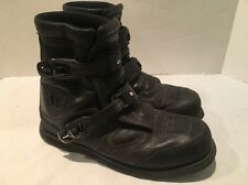 "8"" Icon Patrol Waterproof Motorcycle Boot Size 10 Black Leather Strap Lace Close"