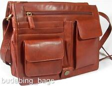 NEW LADIES BROWN SOFT LEATHER ORGANISER MESSENGER WORK BAG