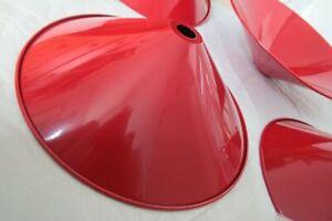 Set of 4 Vintage BHS Red Metal Pendant Shades w Rolled Edges Minimal 80s