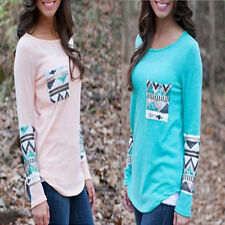 Crew Neck Hip Length Geometric Tops & Shirts for Women