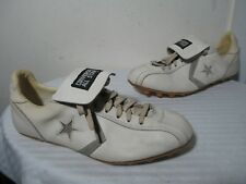 Vintage Converse All Star Cleats White Leather Soccer Shoes Sz 9½ Made In Japan