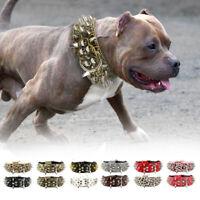 Hunde Nietenhalsband Spikeshalsband Leder Halsband mit Nieten Halsumfang 38-60cm