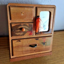 """Doll House Asian Made Dresser w/ Mirror in Door 3 Drawers Parquet Wood Height 5"""""""