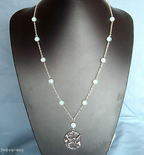 "Beautiful Hummingbird Pendant Opalite Beaded Chain 24"" Necklace in Gift Bag"