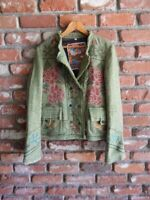 BIYA ~ JOHNNY WAS ~ JWLA ~Green Wool Tweed Embroidered Double Breasted  Jacket~M