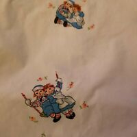RARE Vintage raggedy Ann and Andy fitted  twin bed sheet  1960s