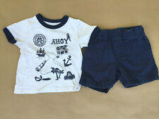 Carter's Baby Boy Shorts & Short Sleeve T-Shirt Pirate Summer Outfit 9 MOS