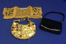 BUILD A BEAR ~ Fancy Gold Sequin Jacket with Gold Sequin Purse & Black Purse