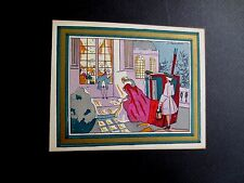 Unused Art Deco Pochoir Xmas Greeting Card from France, Arriving at the Party