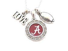 Alabama Crimson Tide Multi Charm Love Football Red Silver Necklace Jewelry UA