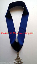 "Past Master Blue Grosgrain Ribbon Collar Silver 3"" Jewel Freemason  Pendent"