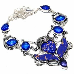 """Flying Goddess - Copper Blue Turquoise, Sapphire Jewelry Necklace 18"""" ZN-898"""