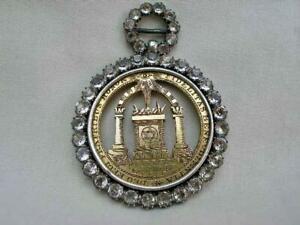Fine Georgian Masonic Silver Gilt Royal Arch Paste Set Collar Jewel Dated 1824.