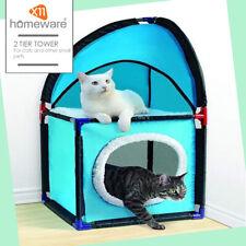 2 Tier Tower Cat Play Tree Lightweight Pet Play Station Cat Hut Fleece Mat Soft