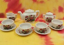 Vintage Miniature Doll Tea Set Ceramic - 13 pcs - Japan - Flowers Floral