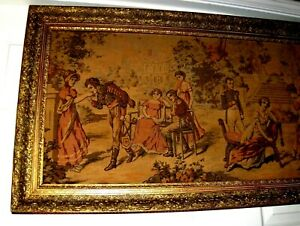 HUGE Antique Vintage Romantic Royal Garden Love Courting French Wall Tapestry