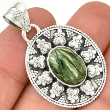 Russian Seraphinite 925 Sterling Silver Pendant Jewelry PP105832